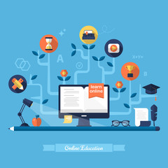 Flat vector illustration for e-learning and online education
