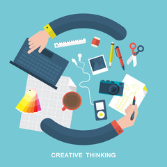 Flat vector illustration of creative thinking and design process