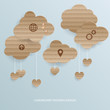 Abstract background with cardboard clouds. Vector illustration