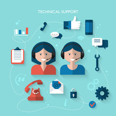 Flat design modern concept for technical support service
