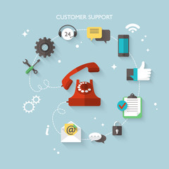 Flat design modern concept for customer support service