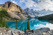Leinwanddruck Bild - Moraine lake rocky mountain panorama