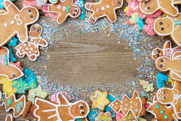 Lebkuchenmännlein mit Zuckerdekor und Textfreiraum