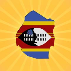 Swaziland map flag on sunburst illustration