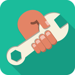 Vector Hand Holding Wrench