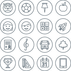 School and education line icons set