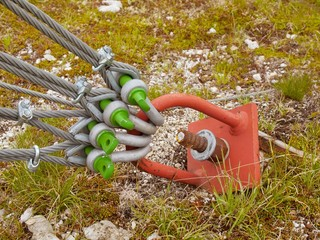 Detail of a scrap in green yard, iron rope fixed by screws