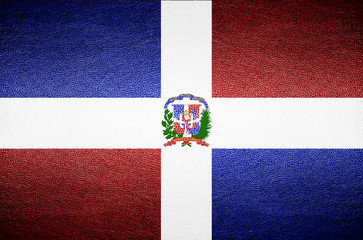 closeup Screen Dominican flag concept on PVC leather for backgro