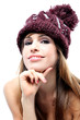 Sensual brunette with wool hat