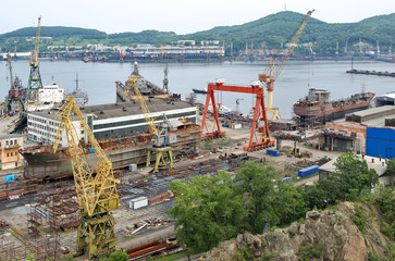 Ships on slipway. Nakhodka Shipyard
