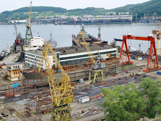 Ship on slipway. Nakhodka Shipyard