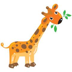 Cheerful giraffe with green leafs. Children illustration