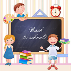 Back to school illustration with happy kids.