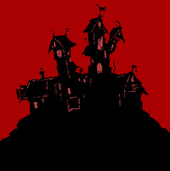 Silhouette of a fairy house for Halloween on a red background