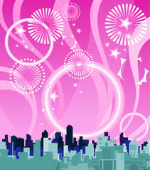City on a background of pink sky with fireworks