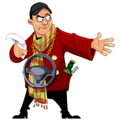 Cartoon man in a red jacket writer with a scarf, indicating hand