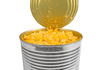 open aluminum can with corn
