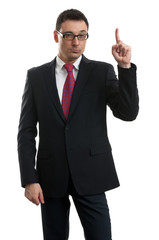 handsome businessman pointing up with his finger