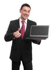 Sales man presenting somenting on laptop screen