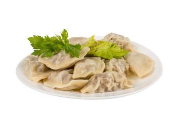 ravioli in a white plate