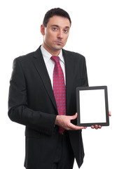 Smiling executive holding a tablet