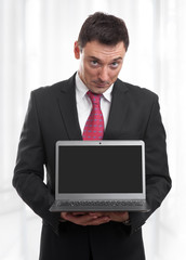 business man with black laptop screen
