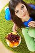 Woman fruit diet portrait