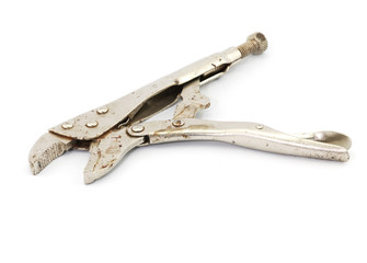 Lock pliers on white background