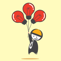 Businessman with bulb balloon