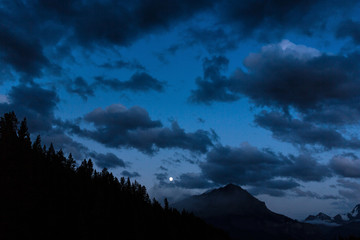 Moonrise at the Rocky mountains canada