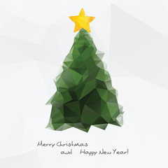 Geometrical Christmas tree,  polygonal background