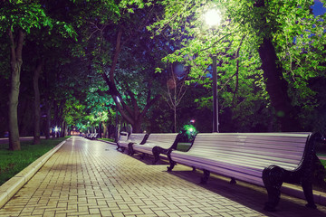 benches on the pavement in light