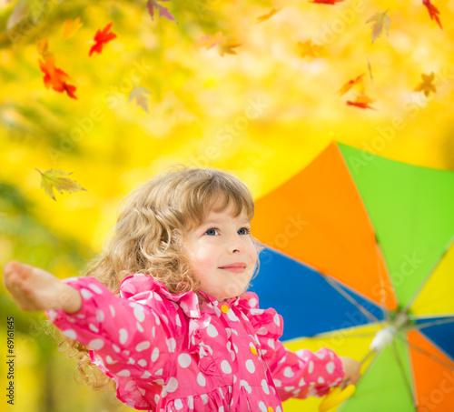 canvas print picture Child in autumn