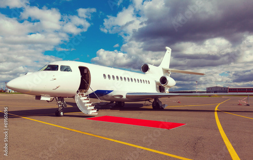 canvas print picture ladder in a private jet