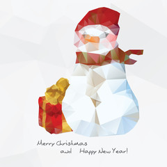 Geometrical snowman,  polygonal background