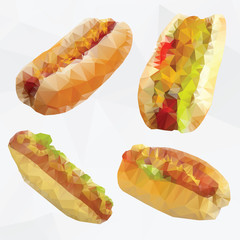 Fast food  geometric polygon - vector hotdog set