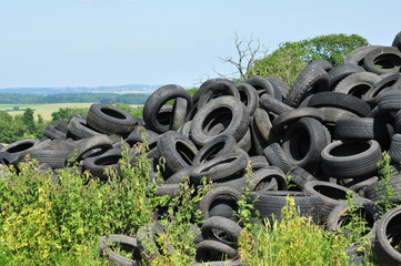 France, pile of waste tires in Arthies