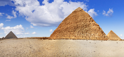 Panorama of pyramids in Giza, Egypt