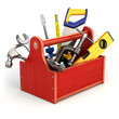 canvas print picture - Toolbox with tools on white isolated background.