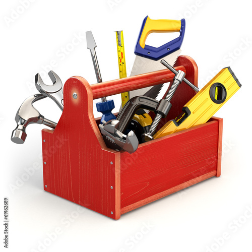 canvas print picture Toolbox with tools on white isolated background.