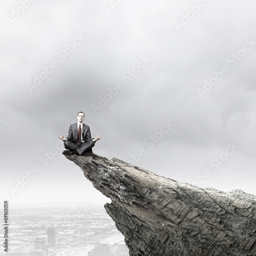 canvas print picture Meditating businessman