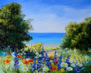 oil painting landscape - field near the sea, wild flowers