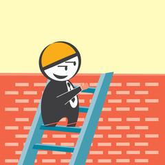 Businessman peeking behind brick wall