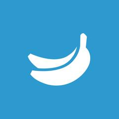 banana icon, white on the blue background .