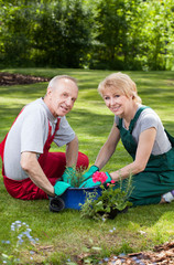 Marriage planting flowers
