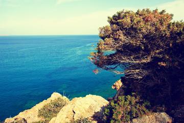 beautiful seascape at sunny day, Crete, Greece