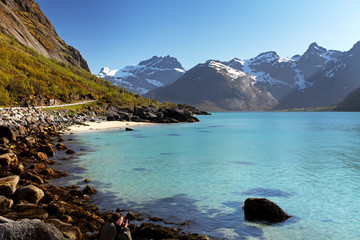 Mountains and fjord in Norway - Lofoten