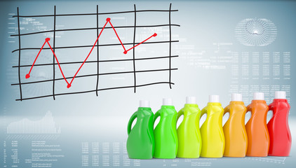 Bottles household chemicals and graph of price changes