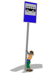 child waiting for a bus