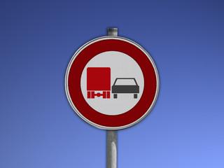 Verkehrsschild Überholverbot für LKW